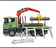 Bruder Игрушечный Лесовоз Scania с портативным краном и брёвнами (Брудер), фото 2