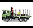 Bruder Игрушечный Лесовоз Scania с портативным краном и брёвнами (Брудер), фото 4