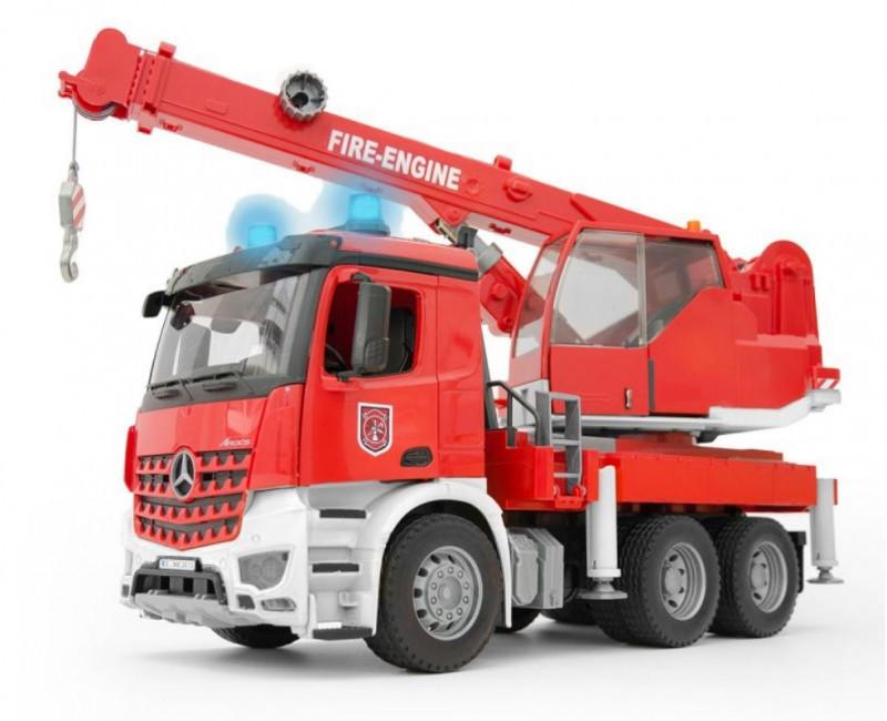 Bruder Игрушечный Пожарный Автокран Mercedes-Benz Arocs с модулем со световыми и звуковыми (Брудер)