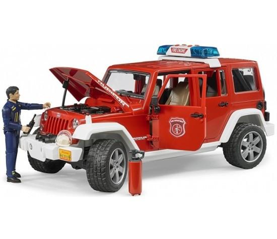Bruder Игрушечный Пожарный Внедорожник Jeep Wrangler Rubicon с фигуркой (Брудер)