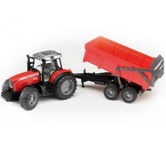Bruder Игрушечный Трактор Massey Ferguson 7480 с прицепом, красный (Брудер)