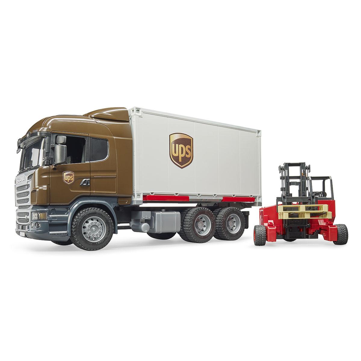 """Bruder Игрушечный Фургон """"UPS"""" Scania с погрузчиком и паллетами (Брудер)"""