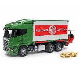 Bruder Игрушечный Фургон Scania с погрузчиком и паллетами (Брудер)