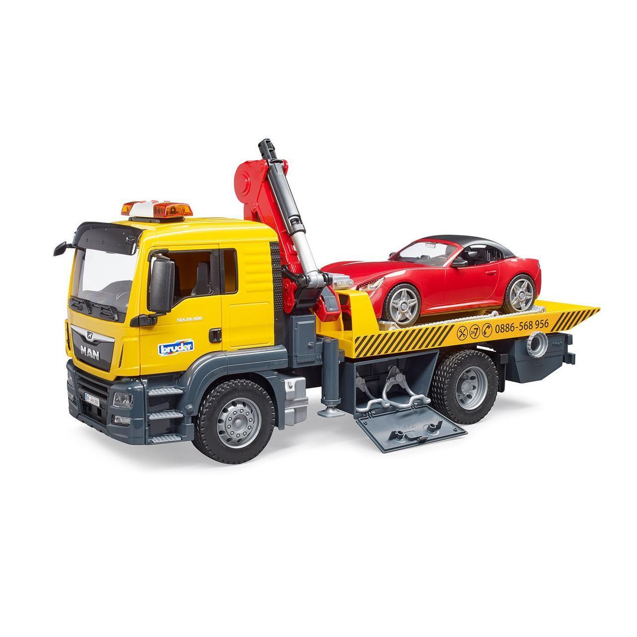 Bruder Игрушечный Эвакуатор Mercedes-Benz с мини погрузчиком (Брудер Самосвал 03-750)