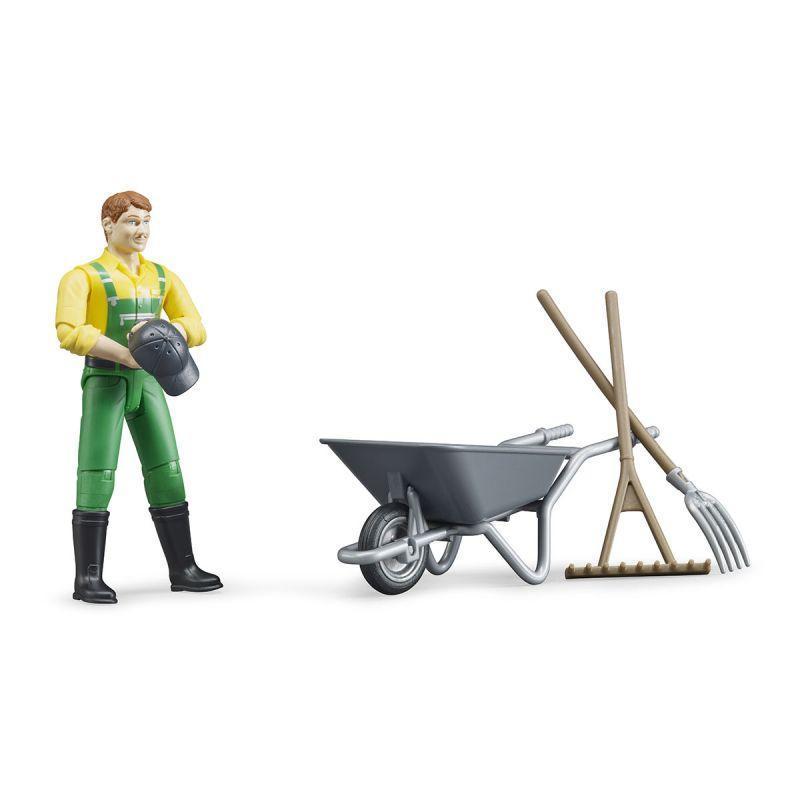 Bruder Фигурка фермера с тележкой и аксессуарами (Брудер)