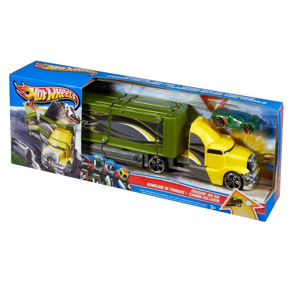 "Hot Wheels Набор ""Большая авария"", желтый грузовик"