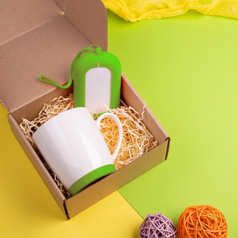 Набор подарочный MATISSE`TEAS: кружка, зарядное устройство, коробка, стружка, светло-зеленый, Зеленый, -,