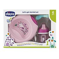 Набор детской посуды Chicco (тарелка, ложка, поильник) розовый