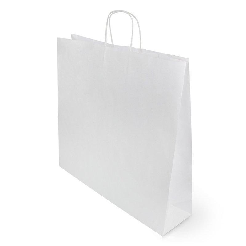 Пакеты (480+120)х450мм, 90г/м2, крафт белый с кручеными ручками, 250 шт