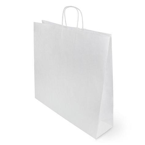 Пакеты (480+120)х450мм, 90г/м2, крафт белый с кручеными ручками, 250 шт, фото 2