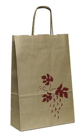 """Пакет-сумка (250+100)х410мм, 100г/м2,крафт кор. с кручеными ручками """"Лоза"""", 100 шт, фото 2"""