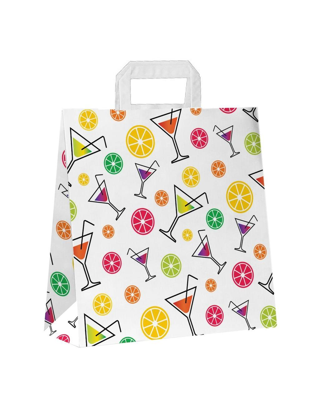 "Пакет-сумка (320+120)х320мм, 100г/м2,крафт белый с плоскими ручками ""Коктейль"", 150 шт"
