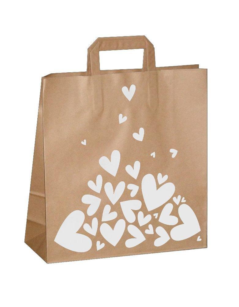 "Пакет-сумка (320+120)х320мм, 100г/м2,крафт кор. с плоскими ручками ""Валентинка белая"", 150 шт"