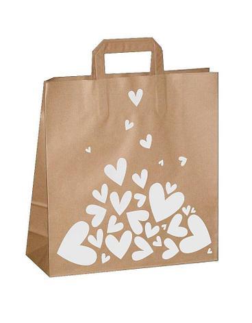 "Пакет-сумка (320+120)х320мм, 100г/м2,крафт кор. с плоскими ручками ""Валентинка белая"", 150 шт, фото 2"