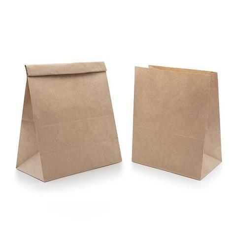 Пакеты на вынос (120+80)х240мм  коричн., б/п, крафт бум. , 1000 шт, фото 2