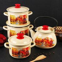 Набор посуды 'Старая мельница', 4 предмета кастрюли 2 л, 3 л, 4 л, чайник 3 л
