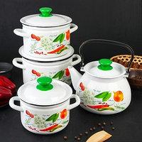 Набор посуды 'Специи', 4 предмета кастрюли 2 л, 3 л, 4 л, чайник 3 л