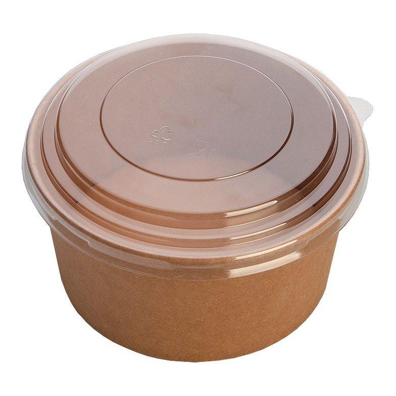 """Упаковка (Салатник) """"DoEco"""" Pure Kraft верх. d-150мм, нижн. d-128мм, h-60мм, 820мл, крафт, ECO RCONT 820, с"""