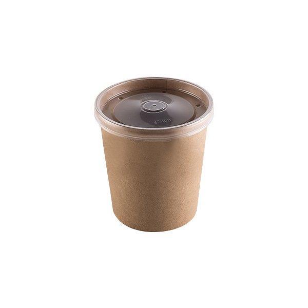 """Упаковка """"DoEco"""" d-75мм, h-60мм, 230мл ECO SOUP 8C ECONOM, для супа, крафт с пластиковой крышкой, 250 шт"""