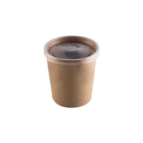 """Упаковка """"DoEco"""" d-75мм, h-60мм, 230мл ECO SOUP 8C ECONOM, для супа, крафт с пластиковой крышкой, 250 шт, фото 2"""