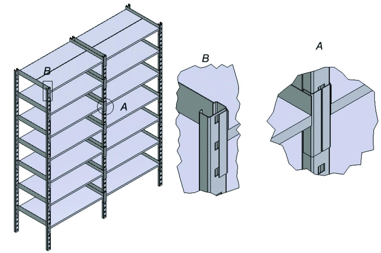 Складские стеллажи, высота 2,5м 5 полок -600мм