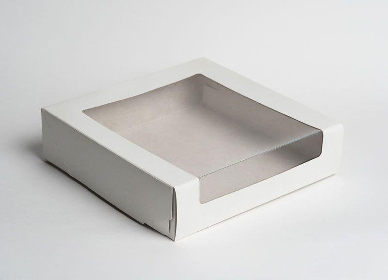 Коробка Pasticciere 180х180х100мм КТ 100 (с окном), белый, 120 шт