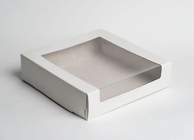 Коробка Pasticciere 180х180х100мм КТ 100 (с окном), белый, 120 шт, фото 2