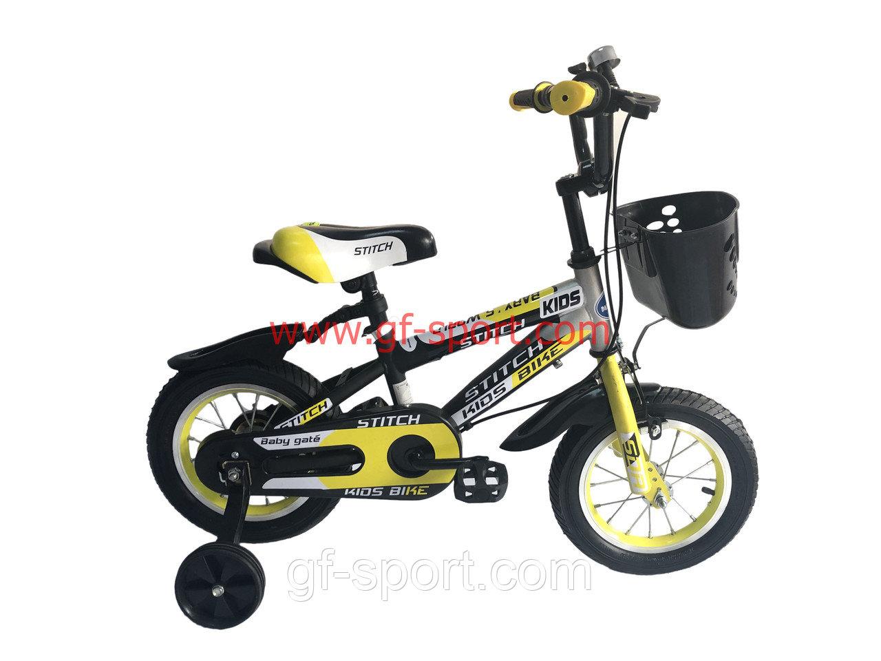 Велосипед Stitch желтый оригинал детский с холостым ходом 12 размер