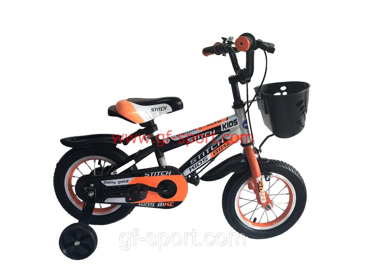 Велосипед Stitch оранжевый оригинал детский с холостым ходом 12 размер