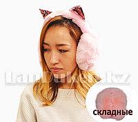 Наушники меховые Кошка, складные с блестящими розовыми ушками