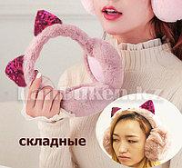 Наушники меховые Кошка, складные с блестящими ушками темно-розовые