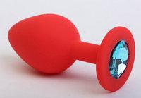 Пробка силиконовая красная с голубым стразом 7,1х2,8см
