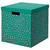 Коробка с крышкой ТЬЕНА зеленый точечный, 30x30x30 см ИКЕА, IKEA