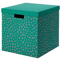 Коробка с крышкой ТЬЕНА зеленый точечный, 30x30x30 см ИКЕА, IKEA, фото 1