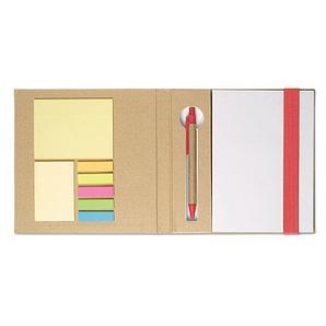 Блокнот с ручкой из переработанной бумаги с двумя блоками стикеров и разноцветными закладками