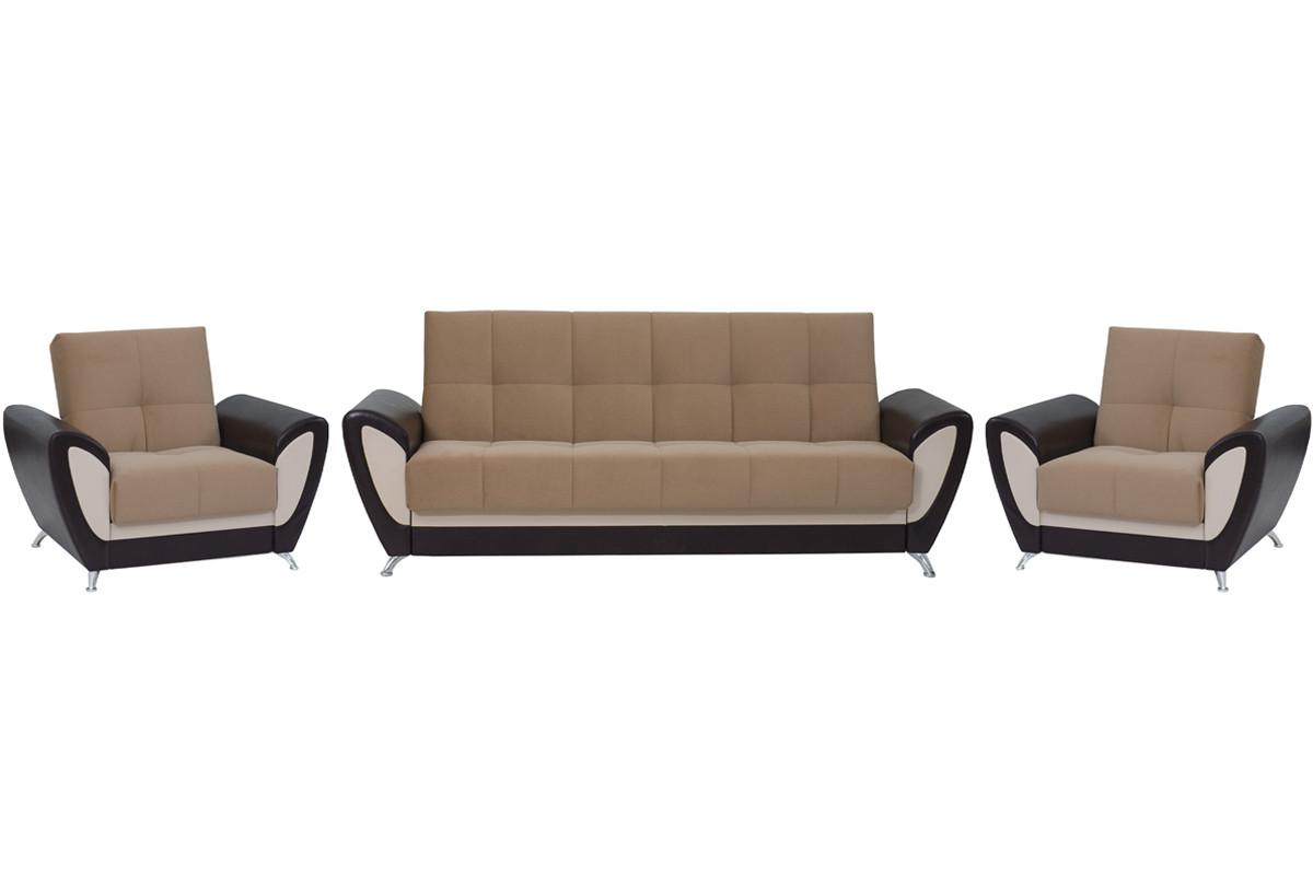 Комплект мягкой мебели Сиеста 3, Коричневый, АСМ(Россия)