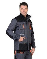 """Куртка """"МАНХЕТТЕН"""" длинная темно-серая с оражевым и черным"""