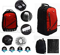 Городской рюкзак Swissgear с дождевиком USB и AUX выход на плечевом ремне (красный) 109