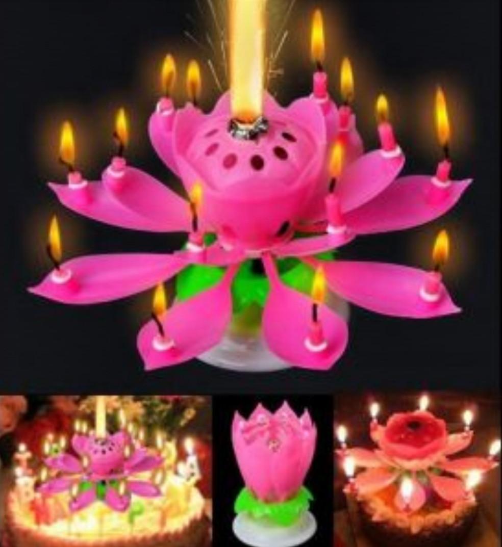 Музыкальная свеча для торта-Лотос
