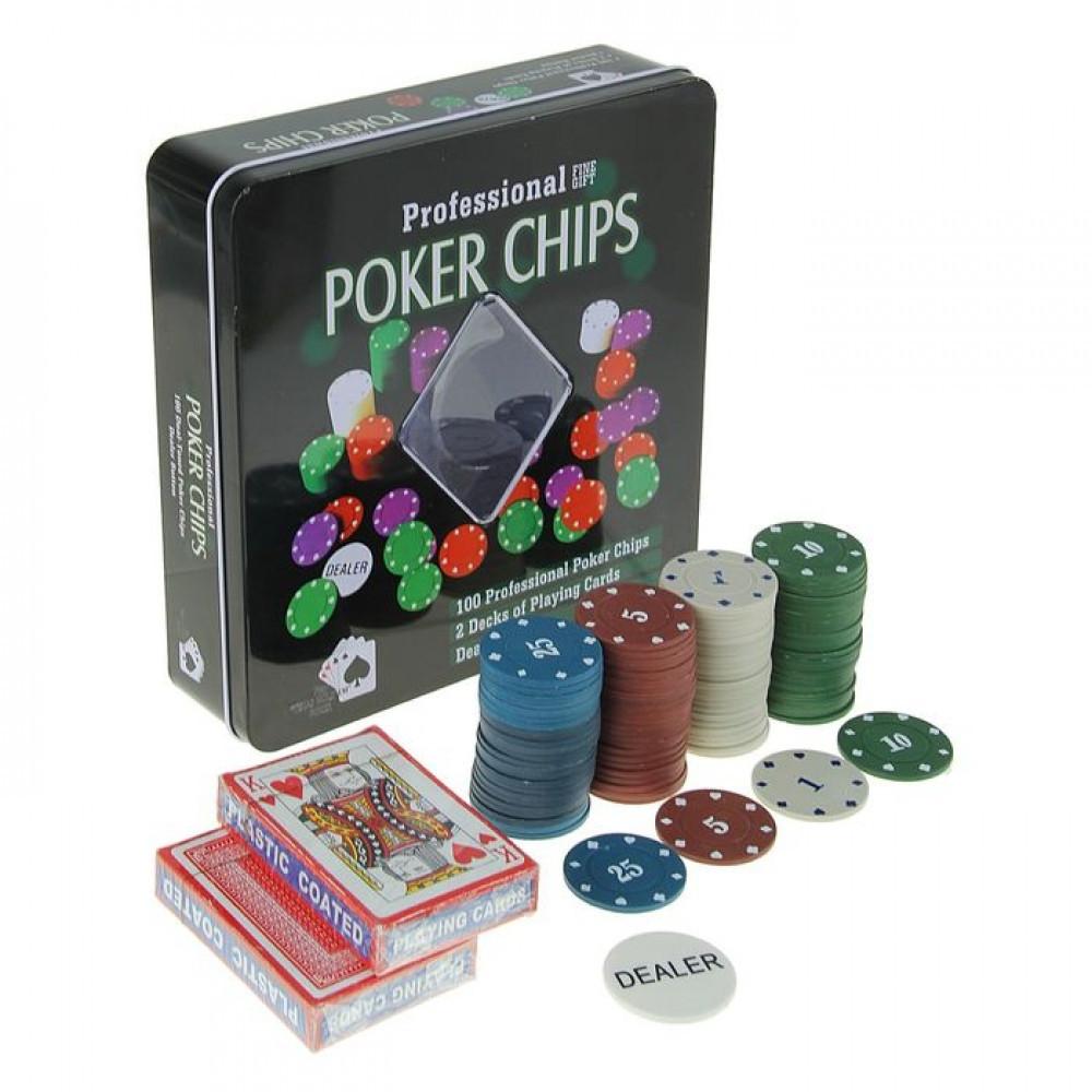 Набор для покера Poker set: карты 2 колоды, фишки 100 шт