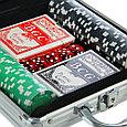 Набор для покера Poker set: карты 2 колоды, фишки 100 шт, 5 кубиков, фото 2
