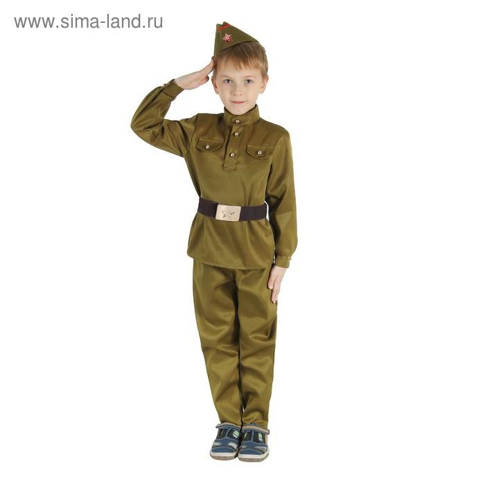 """Детский карнавальный костюм """"Военный"""", брюки, гимнастёрка, ремень, пилотка, р-р 34, рост 134 см - фото 1"""