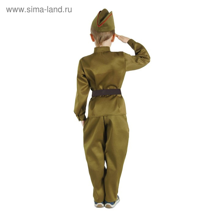 """Детский карнавальный костюм """"Военный"""", брюки, гимнастёрка, ремень, пилотка, р-р 34, рост 134 см - фото 2"""