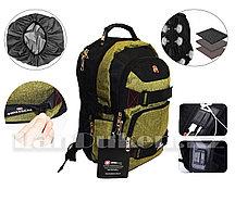 Городской рюкзак SWISSGEAR с дождевиком USB и AUX порт на плечевом ремне (зеленый) 7005
