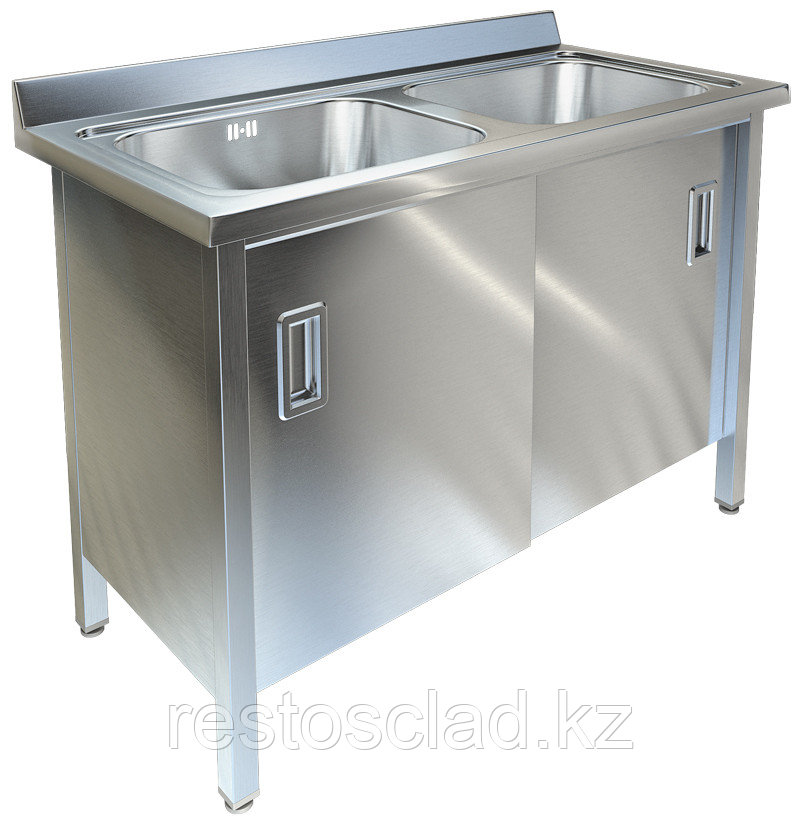 Ванна моечная двухсекционная с распашными дверками ТЕХНО-ТТ ВМ-25/557 нерж
