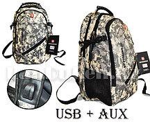 Городской рюкзак SWISSGEAR с USB и AUX выходом на плечевом ремне (армейский камуфляж) 8810