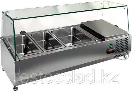 Витрина охлаждаемая настольная HICOLD VRTG 2 со стеклом к столу для пиццы PZ3-11 [284225]