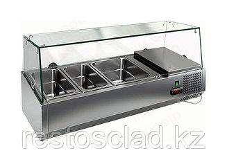 Витрина охлаждаемая настольная HICOLD VRTG 3 со стеклом к столу для пиццы PZE3-111/GN [284219]