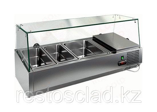 Витрина охлаждаемая настольная HICOLD VRTG 4 со стеклом к столу для пиццы PZ3-111/GN [284221]