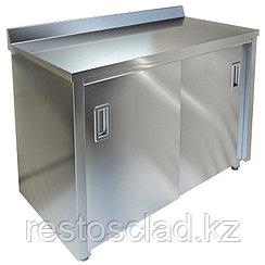 Стол-тумба пристенный ТЕХНО-ТТ СПС-934/1507Н нерж (двери-купе)